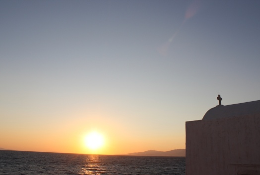 Golden sunset Mykonos