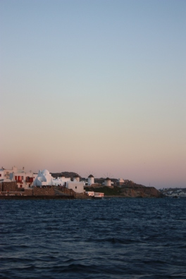 In the distance the signature Mykonos windmills
